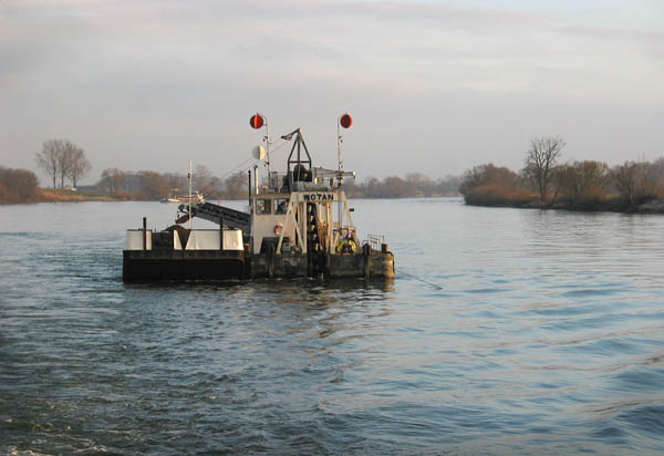 Bucket ladder dredger on the Danube